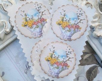 Shabby Egg Stickers (12) Easter Stickers-Egg Labels-Envelope Seals-Egg Seals-Favor Stickers-Easter Labels-Easter Egg Embellishment