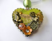 Green Mixed Media Assemblage Heart Necklace