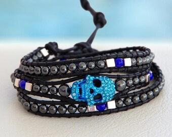 Skull Blue... Leather wrap bracelet... a black coloured triple wrap bracelet. Original OceanBead Style