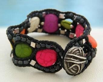 Colourful Smarties... Leather wrap bracelet... Beaded single wrap bracelet. Original OceanBead Style.