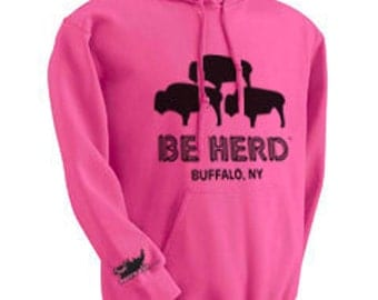 Adult Large Be Herd Buffalo Hoodie (Heliconia)