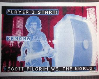 Ramona Flowers Scott Pilgrim handpulled Silkscreen Print neon video game screen