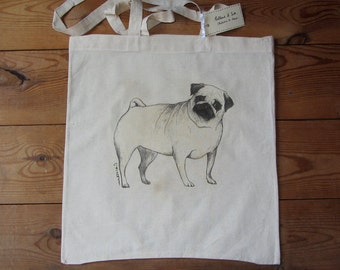 Inquisitive Pug illustrated tote bag