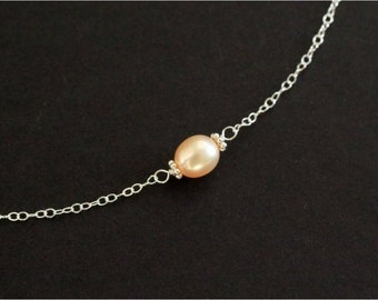 Pearl Choker Necklace, Dainty Necklace, Sterling Silver Chain, Gold-filled Chain, Gold Peach Rice Freshwater Pearl. Everyday Jewelry. N147