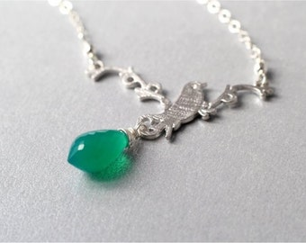 Silver Bird and Gemstone Necklace, Green Onyx Micro Faceted Chandelier Briolette, Matte Silver Bird on Twig Pendant, Sterling Chain. N162.