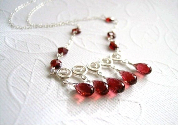 January Birthstone. Gemstone Necklace, Pyrope Garnet Tear Drops, Mozambique Garnet Coin Beads, Sterling Silver Link and Chain. N019.