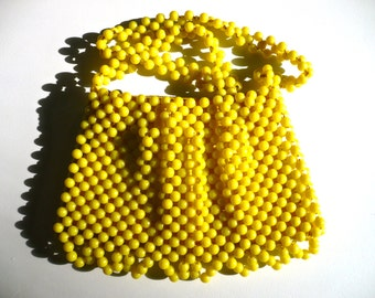 Purse, Retro Handbag, Yellow Purse, Beaded Shoulder Bag, Retro Beaded Bag, Ladies Accessory, 1960s Vintage Purse, Made in Italy, CasaKarma