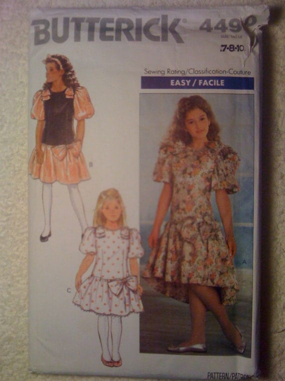 Butterick 80s Sewing Pattern 4490 Girls Dress Size 7-8-10