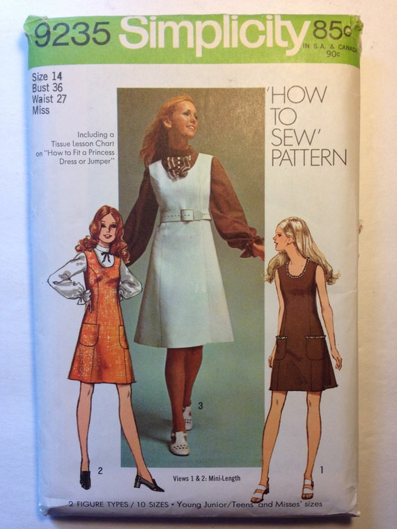 Simplicity 70s Sewing Pattern 9235 Young Juniors and Misses Jumper or Dress in Two Lengths and Blouse Size 14 Sale