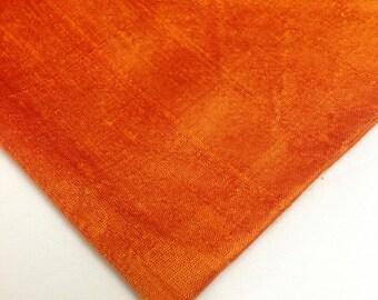 Orange Dupioni Silk - Indian Silk Fabric - Pure Silk Dupioni - Raw Mulberry Silk - Indian Dupioni Silk by Yard