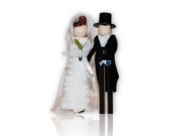 Jane Austen Clothespin Doll Ornament Kit: Elizabeth Bennet and Mr. Darcy Wedding Couple Pride and Prejudice