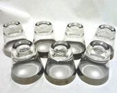 Mid Century Dorothy Thorpe Style Silver Rim Shot Glasses - Set of Seven