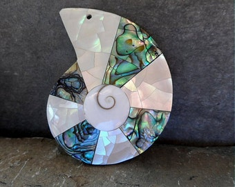 Abalone and Mother of Pearl Hand made Pendant