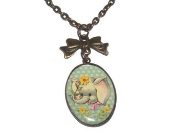 Baby Elephant Necklace, Vintage Look Cute Animal Kitsch Necklace
