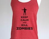 Keep Calm and Kill Zombies design 3 Soft Tri-Blend Racerback Tank