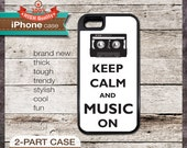 Keep Calm And Music On - iPhone 6, 6+, 5 5S, 5C, 4 4S, Samsung Galaxy S3, S4