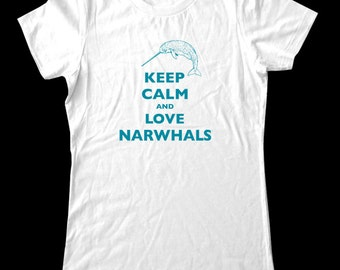 Keep Calm and Love Narwhals T-Shirt - Soft Cotton T Shirts for Women, Men/Unisex, Kids