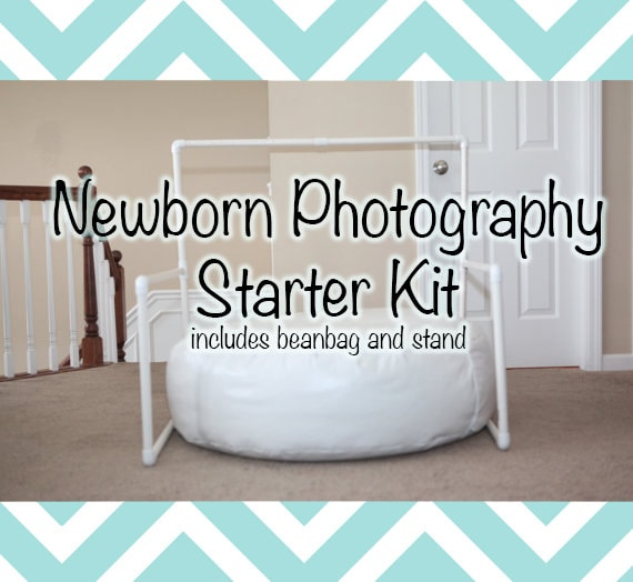 Newborn Photography Starter Kit: Includes Backdrop Stand and Baby Beanbag - Great for On-location Photographers or Simple Studio Set-Ups