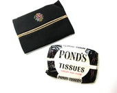 Tissue Case/Cozy Black with Petit Point 1950's with Pond's Tissue Vintage