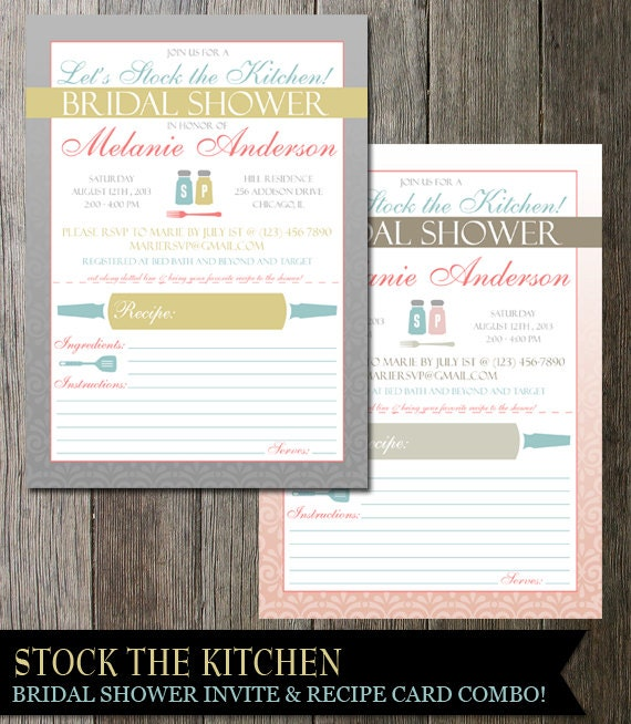 Bridal Shower Stock the Kitchen Invitation | Kitchen |  Modern Fun with utensils | DIY Digital Printable Invite
