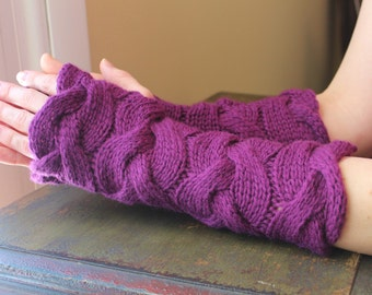 Knit Fingerless Gloves/Arm Warmers/Gauntlets, Chunky Cabled in Amethyst Purple