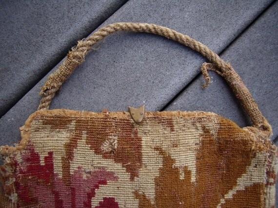 Antique Carpet Bag Civil War Era Rope Handle 1800 By Yorehome