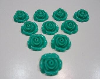 194-6 Cabochon en résine opaque, turquoise, 15mm (10 pcs)