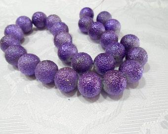 248-1 Perle de acrylic texturé  16mm   pourpre  1 corde