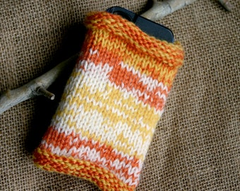Knit Cozy- Hand Knitted- Phone Sleeve- Orange, Yellow, White -