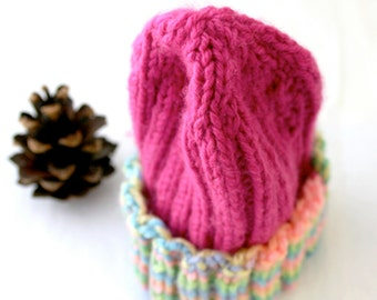 Pink Preemie Knitted Cap- Hand Knit- XS Baby Hat- Rainbow Sherbet- Charity Donation- Baby Beanie- Free US Shipping
