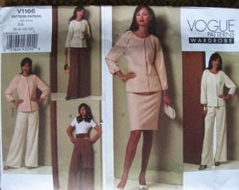 VOGUE Wardrobe Misses Womens Jacket Top Skirt and Pants Suit Pattern v1166  Sz 6 8 10 12 Uncut