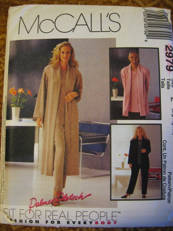 Mccalls Womens Duster Jacket Top Pants Sewing Pattern 2979