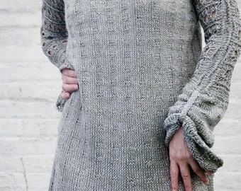 silver gray sweater in viscose and linen