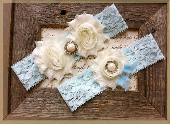SALE- Something Blue Wedding Garter- Vintage Wedding Bridal Garter and Toss Garter- Ivory and Pearl Rhinestone Garter-Toss Garter