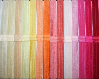 You Choose - 100 Fold Over Elastic (FOE) 5/8 Inch Headbands - Over 50 Colors - Interchangeable - Speedy Shipping!