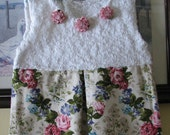 Handmade Baby Girl Dress - Between Roses - Hand Knitted - One of A Kind
