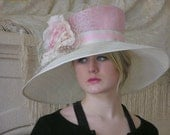 Pink and Ivory Kentucky Derby Hat, Church Hat