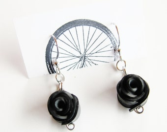 Black Rose Earrings - Recycled Jewelry -bicycle - bike - innertubes