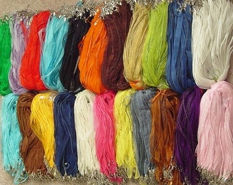 """200 pcs - Organza ribbon waxed cotton cord necklace 18"""" plus 2"""" extension - 20 colors to choose from"""