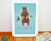 "Greetings from Scandinavia poster, Nursery art print, Kitchen decoration, Animal poster, Grizzly bear, 20cm x 30cm, 8"" x 12"""