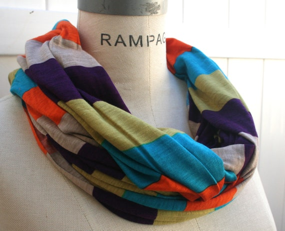 Color Block Infinity Scarf Most Popular Shop Most Popular Item Best Selling Item Rainbow Infinity Scarf  Hipster Scarfs - By PIYOYO