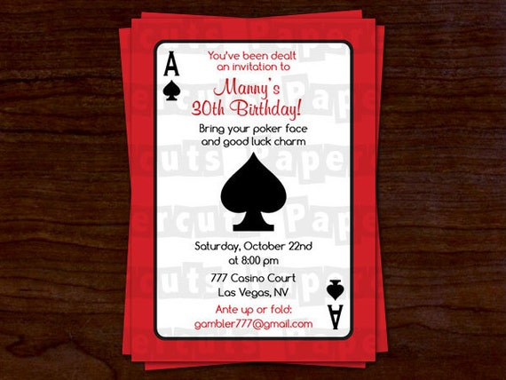 casino night poker theme birthday party invitation red