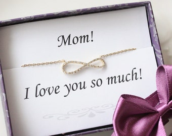 Mothers day gift - Thank you card with crystal Infinity necklace, Mom jewelry, gifts for mom