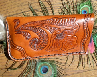 tooled leather / handmade eyeglasses case