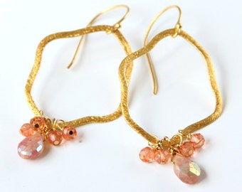 Sunstone Earrings, Gold Hoops, Mystic Orange Quartz, Large Hoops, Apricot, Tangerine