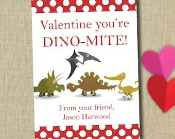 School Valentine cards. personalized classroom valentine card. dinosaur valentine. Instant downlad
