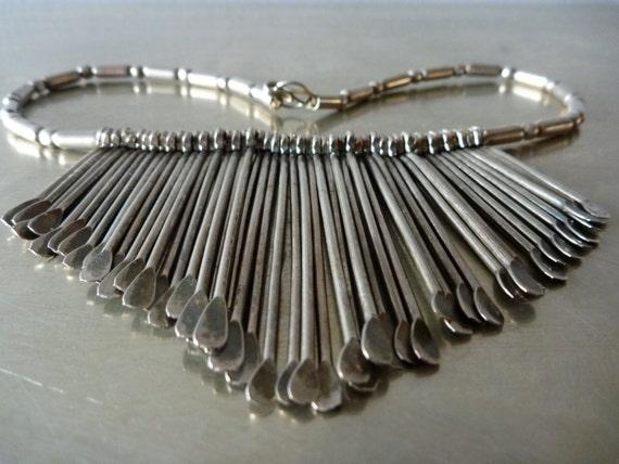Vintage Native-American Modernist Silver Draperie (Bib) Necklace