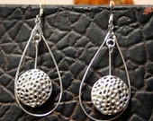 Silver Finish Tear Drop Hoop Pierced Earrings Adorned with Silver Alligator Finished Disks