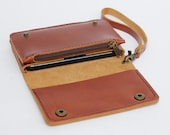 Leather iPhone wallet case with mini zipper in Caramel Brown (For iPhone5/5s)