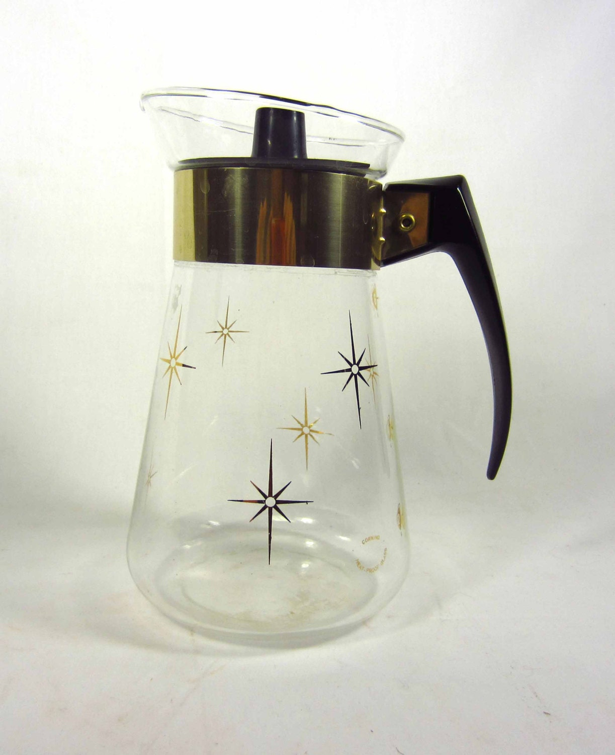 Vintage Corning Glass Coffee Carafe with Gold Trim Mid